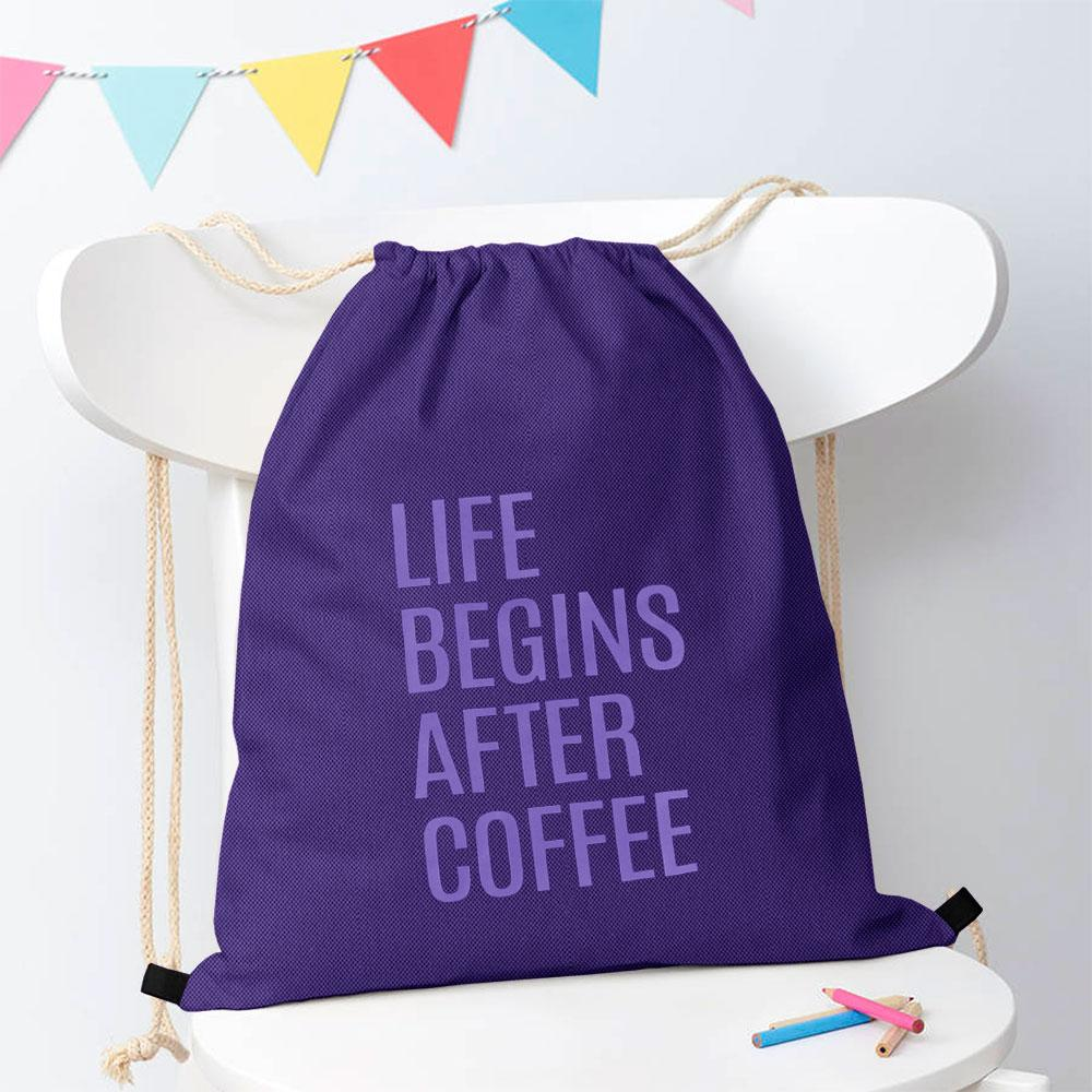 Polo Republica Life Begins After Coffee Drawstring Bag Drawstring Bag Polo Republica Purple Purple