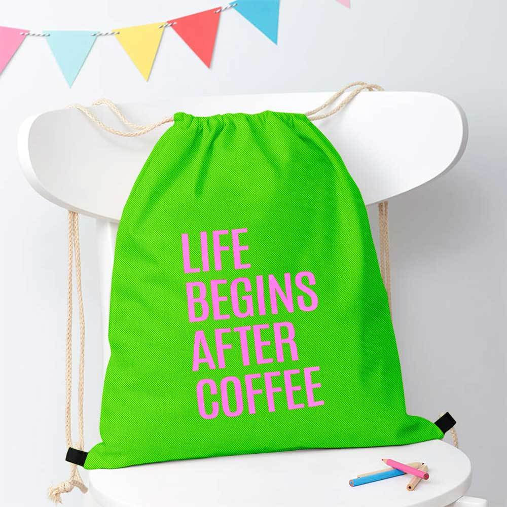 Polo Republica Life Begins After Coffee Drawstring Bag Drawstring Bag Polo Republica Parrot Magenta