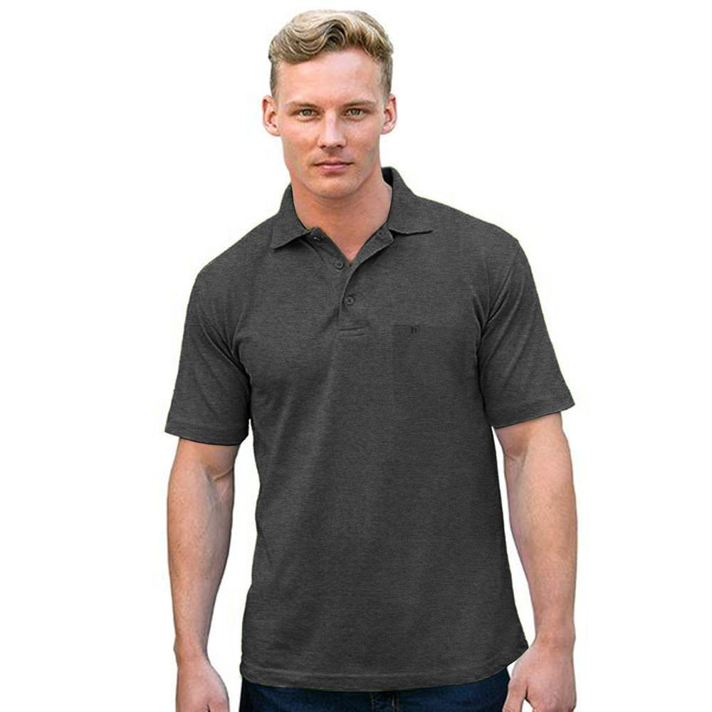 DNY Classic Solid Short Sleeve Polo Shirt Men's Polo Shirt Image Charcoal L