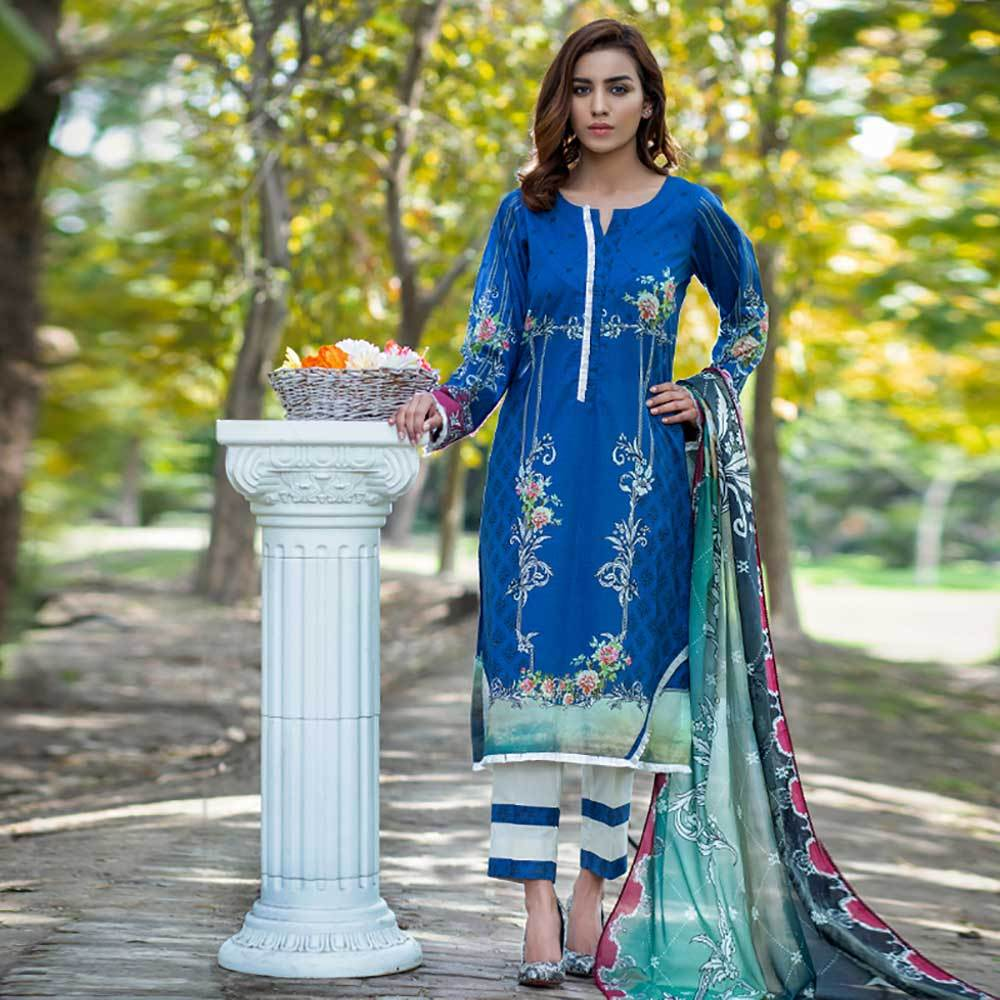 Women's Zawayda Unstitched 3 Pcs Lawn Suit Women's Un Stitched Suit INDICOT