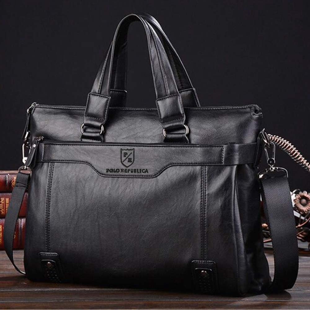 Polo Republica Men's Leather Sturdy Laptop/Office Bag Hand Bag Sunshine China Black