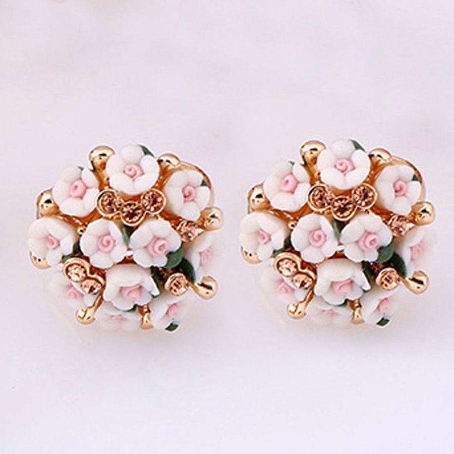 Flash Diamond Temperament Small Flowers Ceramic Earrings