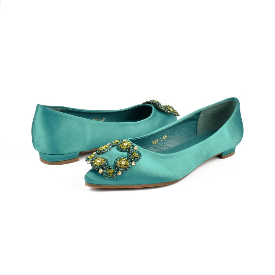 Valley Li Kushiro Crystal Front Buckle Satin Flat Court Shoes