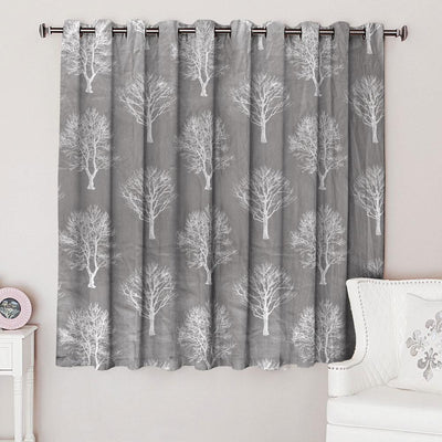 Fusion Autumn Tree Design One Piece Eyelet Curtain Curtain MB Traders Graphite W-46 x L-54 Inches