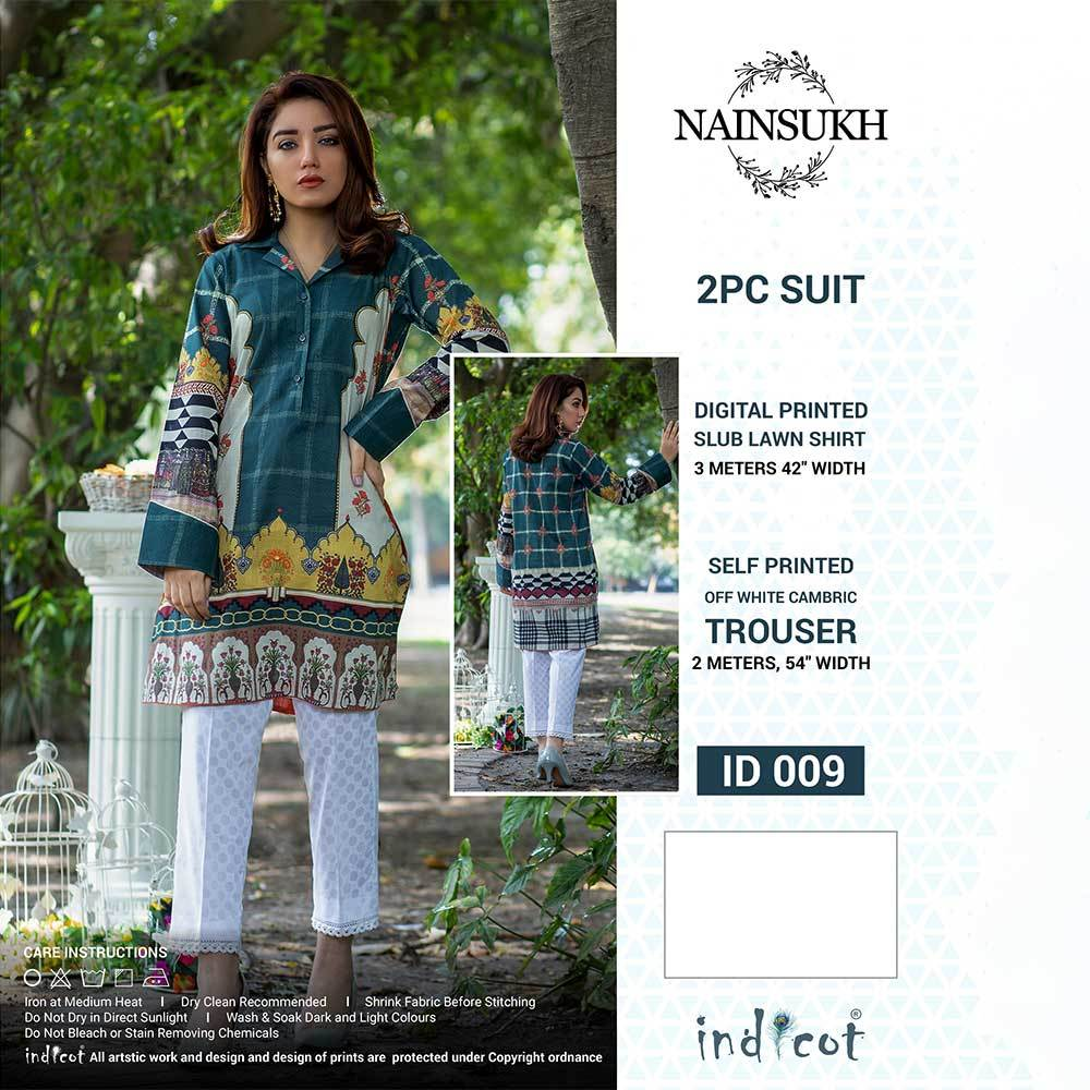Women's Almeetra Unstitched 2 Pcs Lawn Suit Women's Un Stitched Suit INDICOT