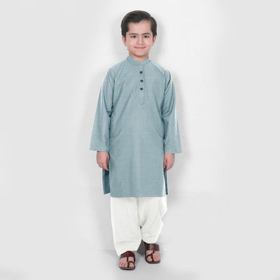 Velvour Boy's Statement Stitched Kurta Shalwar Boy's kurta set YTC Sea Blue 1-2 Years