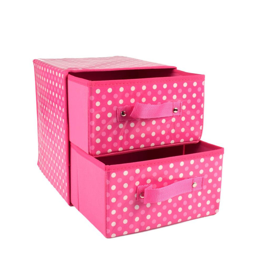 Anyang Printed Dotted Design Two Compartments Storage Box
