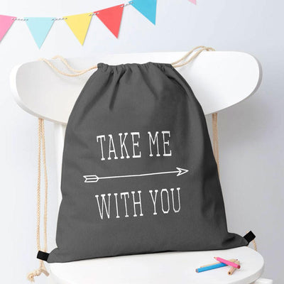 Polo Republica Take Me With You Drawstring Bag Drawstring Bag Polo Republica Graphite White
