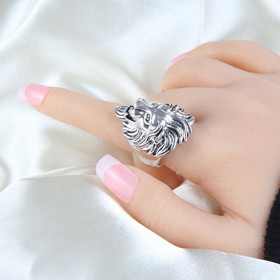 Exquisite Silver Lion Head Unisex Ring