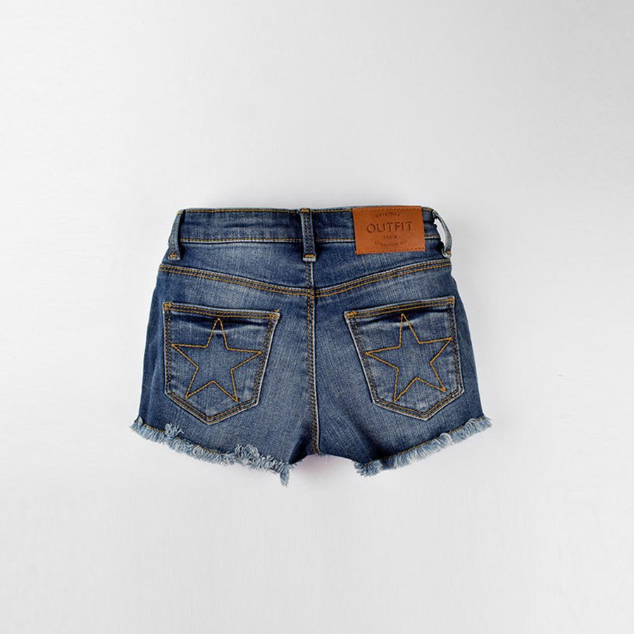 OTF Raw Hem Girls Stretchable Denim Shorts