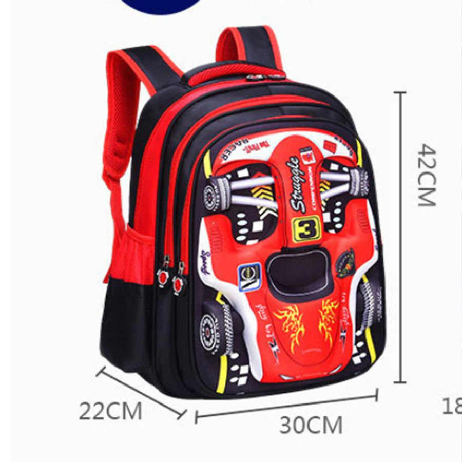 3D Car Design Children's School Large Size Backpack