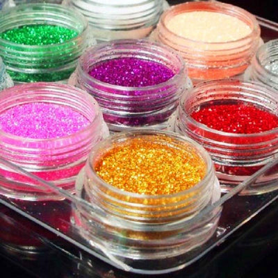Glitter Nail Powder 12 Pcs Kit