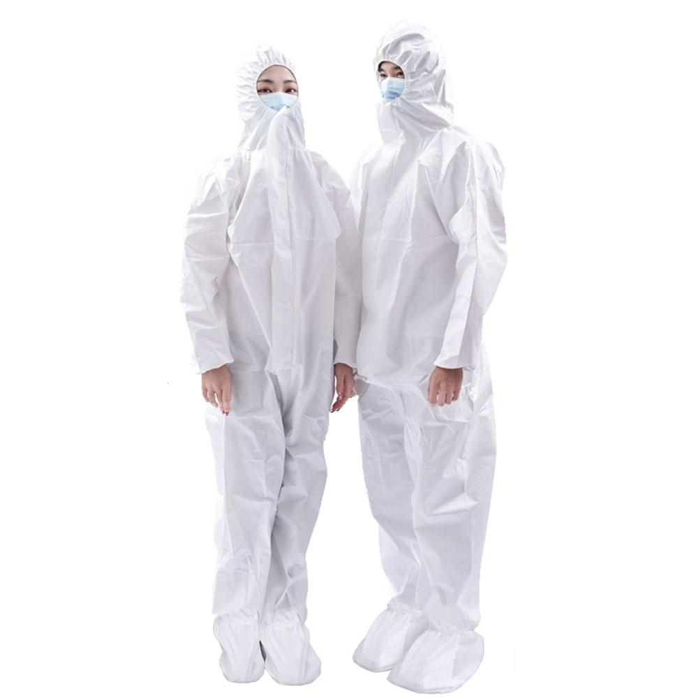 Unisex Disposable 40 GSM Anti-Viral Protective Hooded Hazmat Suit Hazmat Suit Emporio