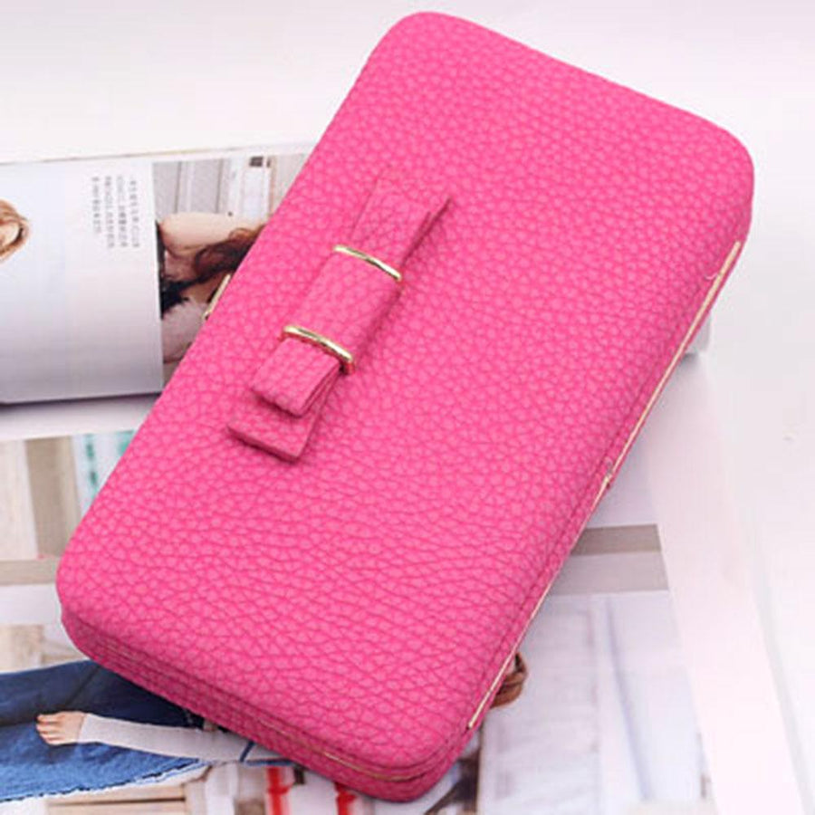 PU Leather Long Phone Bowknot Clutch Wallet