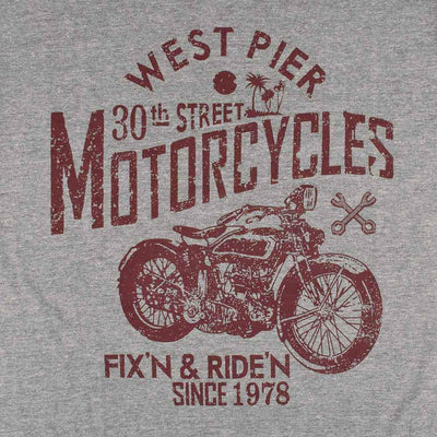 IZOD West Pier Motorcycles EST 1978 Men's Crew Neck Tee Shirt Men's Tee Shirt Fiza