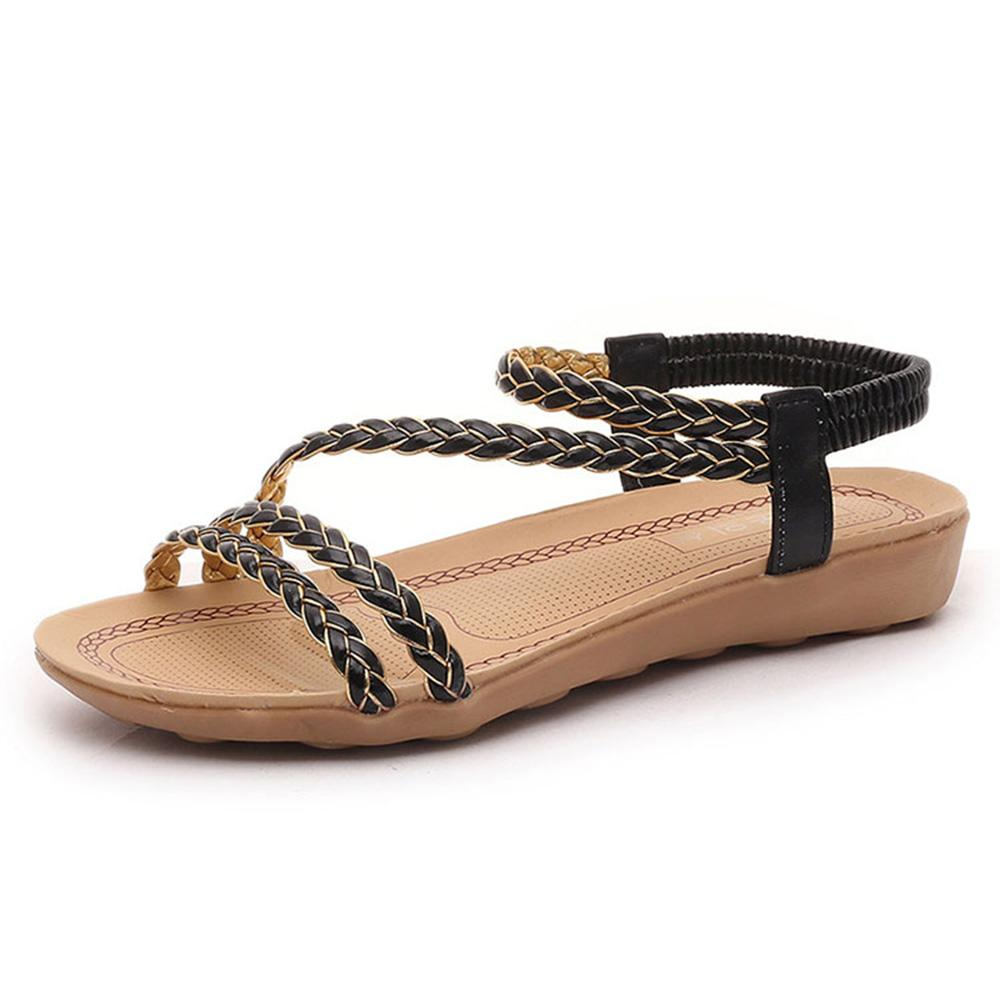 BJL Women's Classic Flat Soft Bottom Beach Sandals Women's Shoes Sunshine China Black EUR 35