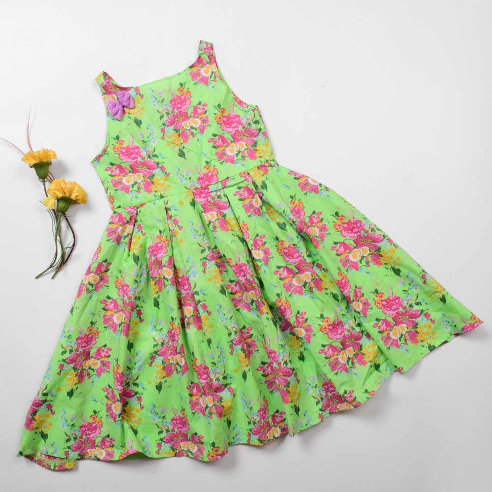 Safina Girl's Peoria Floral Scuba Dress Girl's Frock Image Bright Green 4-5 Years