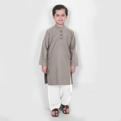 Velvour Boy's Moon Light Stitched Kurta Shalwar Boy's kurta set YTC Grey 1-2 Years