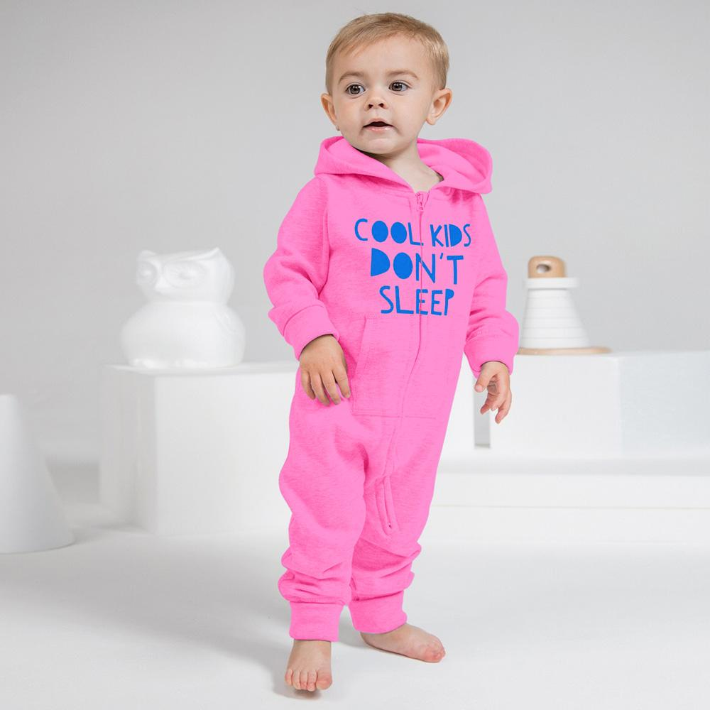 Cool Kids Don't Sleep Full Body Baby Romper Babywear Image Pink Blue 6-12 Months