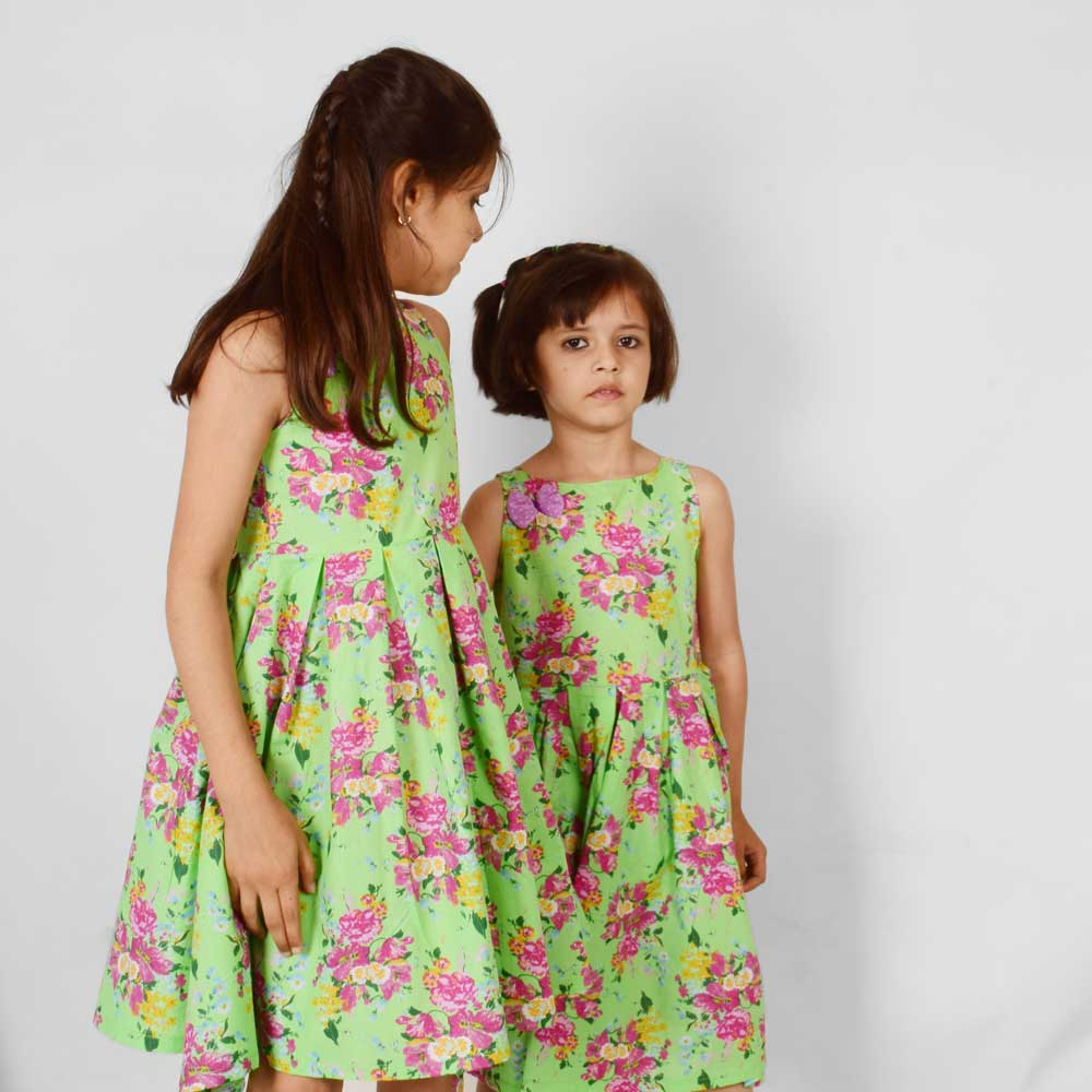 Safina Girl's Peoria Floral Scuba Dress Girl's Frock Image