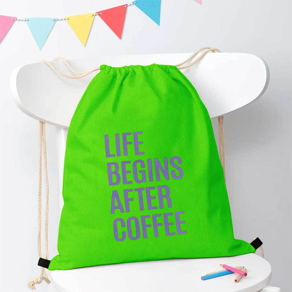 Polo Republica Life Begins After Coffee Drawstring Bag Drawstring Bag Polo Republica Parrot Purple