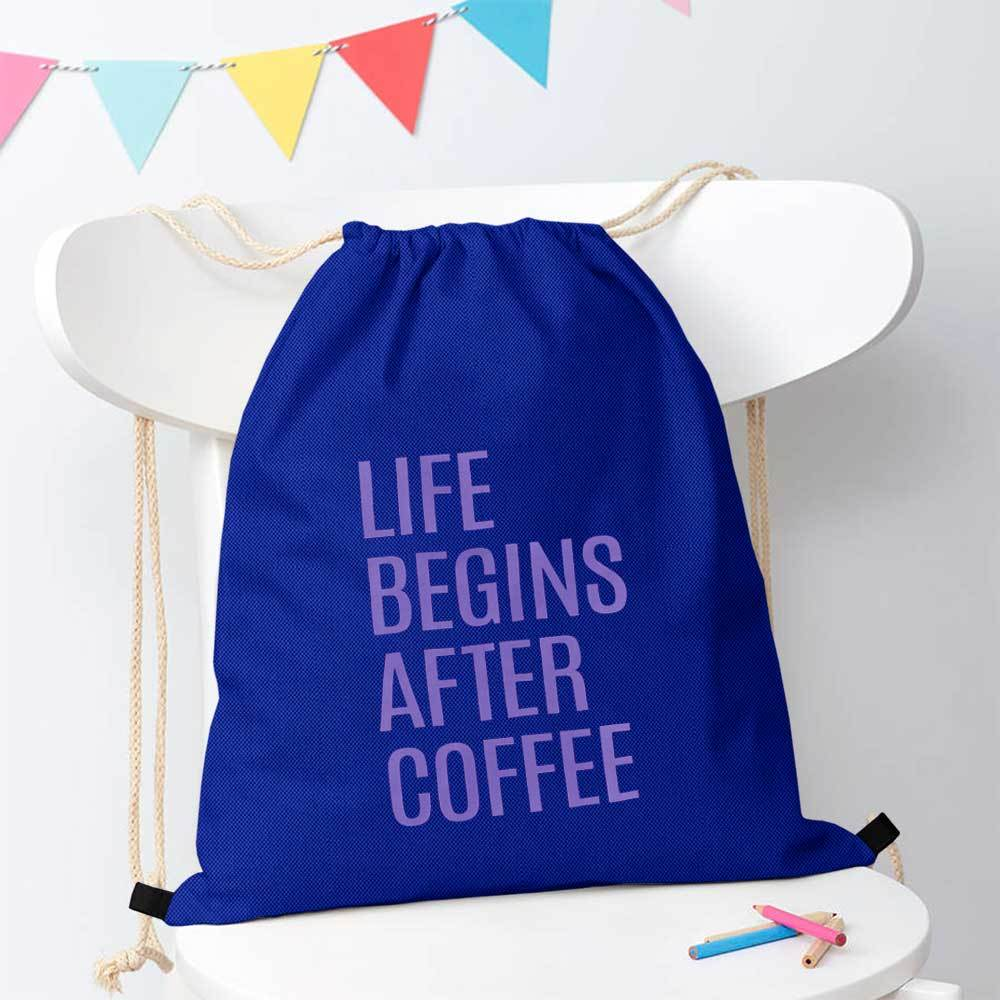 Polo Republica Life Begins After Coffee Drawstring Bag Drawstring Bag Polo Republica Royal Purple
