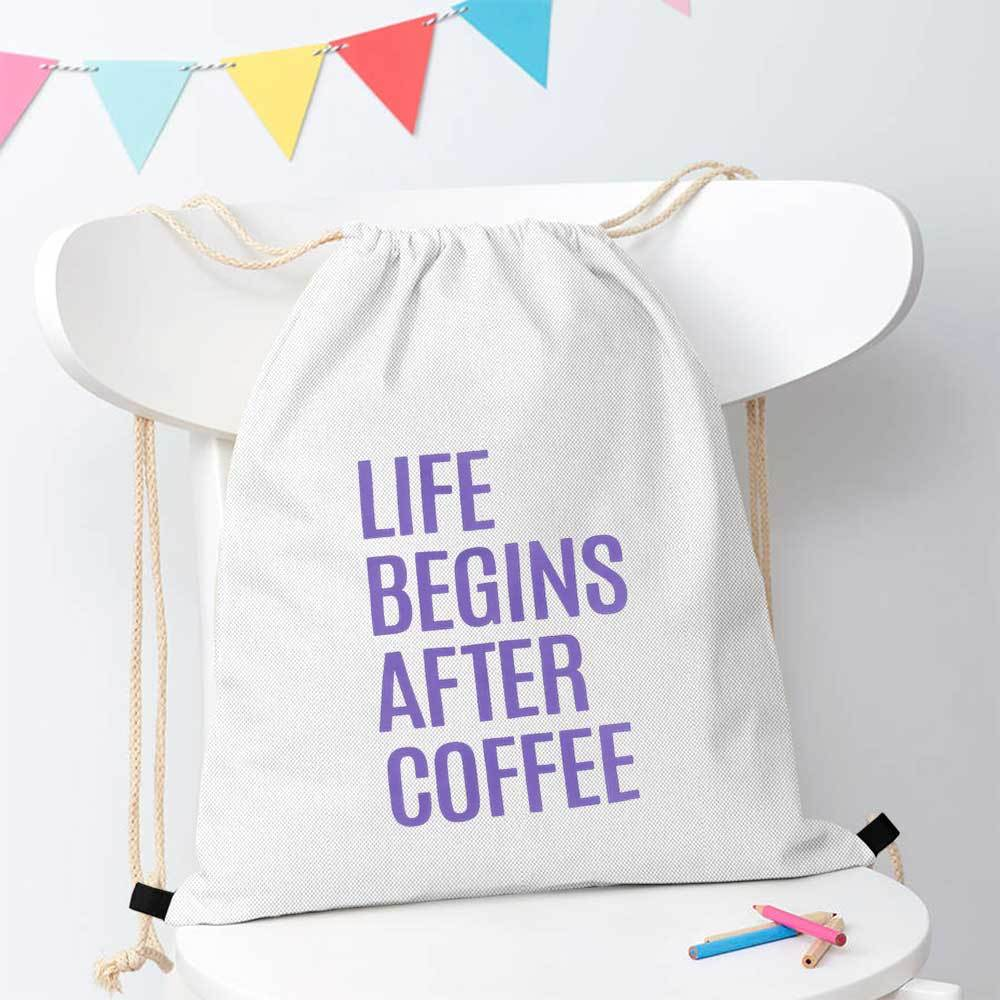 Polo Republica Life Begins After Coffee Drawstring Bag Drawstring Bag Polo Republica White Purple