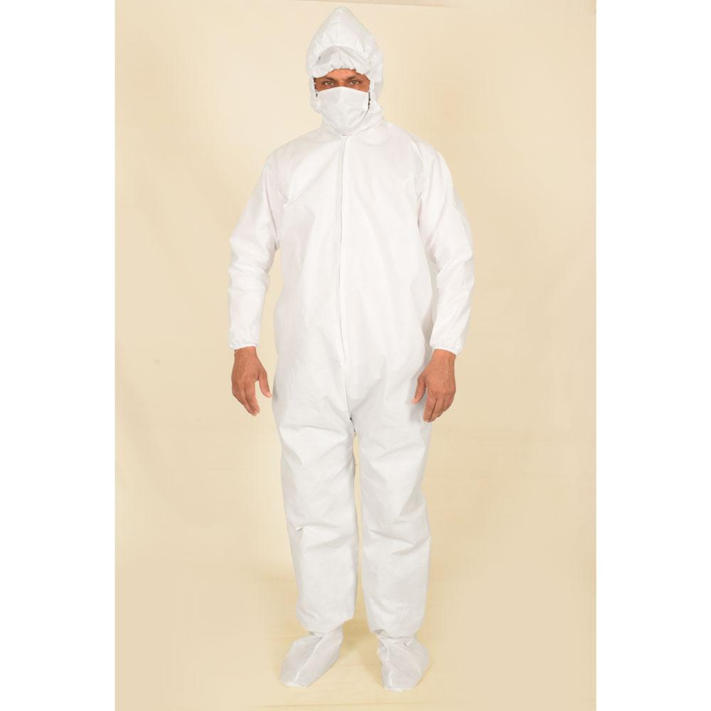 Unisex White Hazmat 50 GSM Suit PPE Protective Hooded Suit with Mask & Shoe Covers Men's Jacket Image