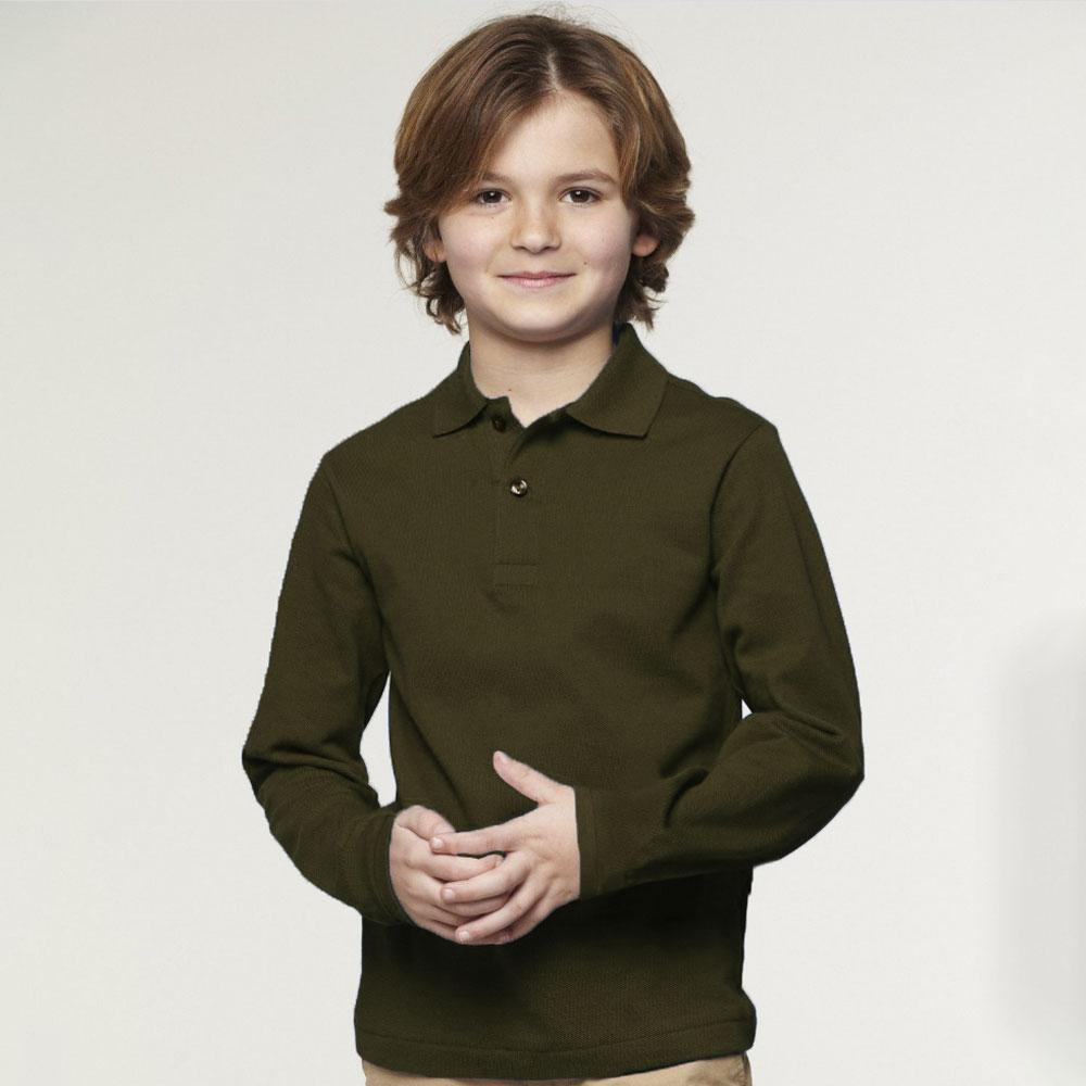 Polo Republica Kid's Long Sleeve Polo Shirt Boy's Polo Shirt Polo Republica Olive 6 Years