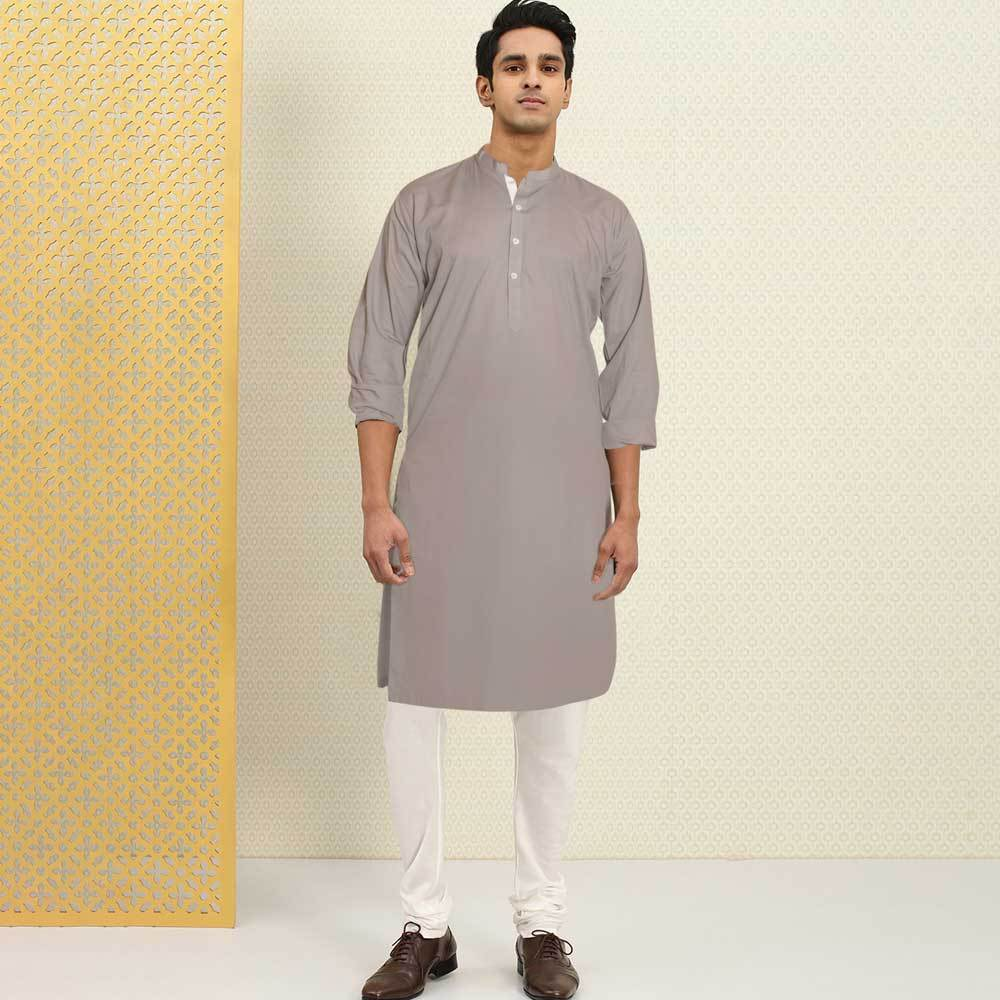 Polo Republica Men's Isfahan Stitched Kurta Men's Kurta RDS Grey S