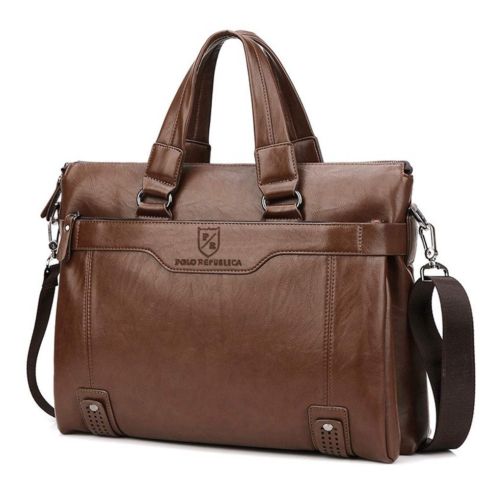 Polo Republica Men's Leather Sturdy Laptop/Office Bag Hand Bag Sunshine China Brown
