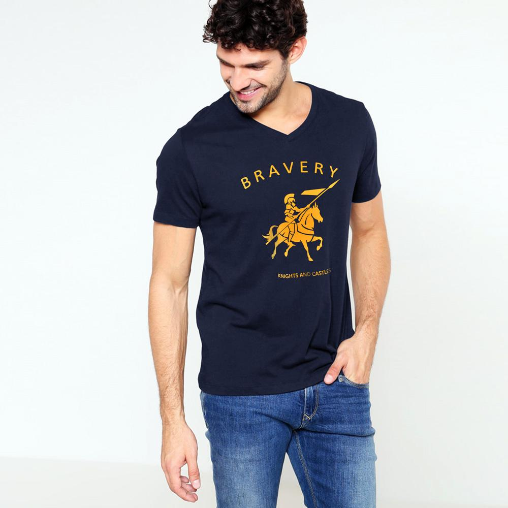 LE Bravery V-Neck Short Sleeves Tee Shirt Men's Tee Shirt Image Navy XS