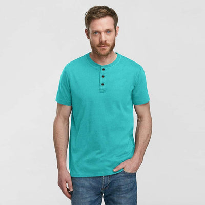 NC Men's Henley Style Classic Tee Shirt Men's Tee Shirt Image Turquoise M