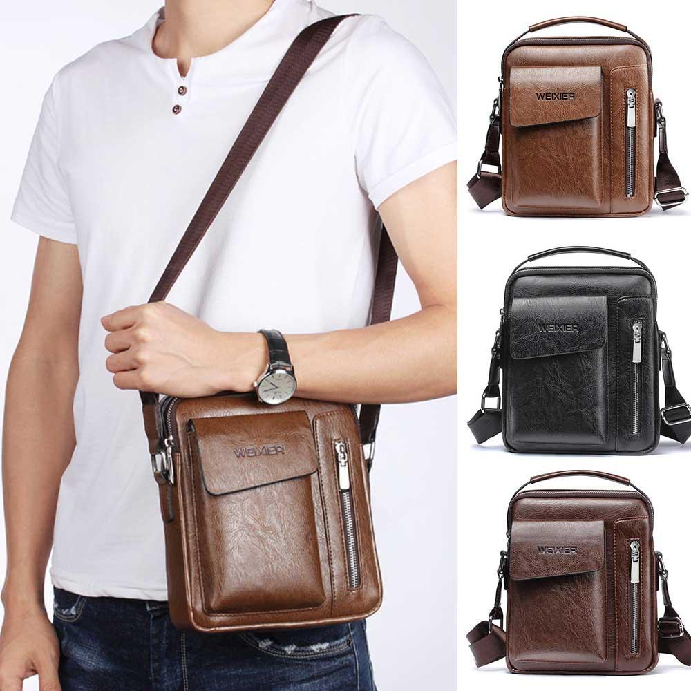 Weixier Men's PU Leather Shoulder Bag Hand Bag Sunshine China