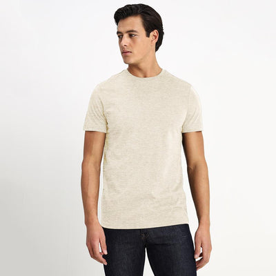 CSG Paulinia Men's Solid Tee Shirt Men's Tee Shirt First Choice Oatmeal Marl S