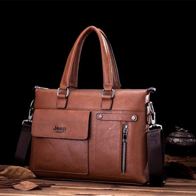 Jeep PU Leather Business Travel Shoulder Bag Laptop Bag Sunshine China