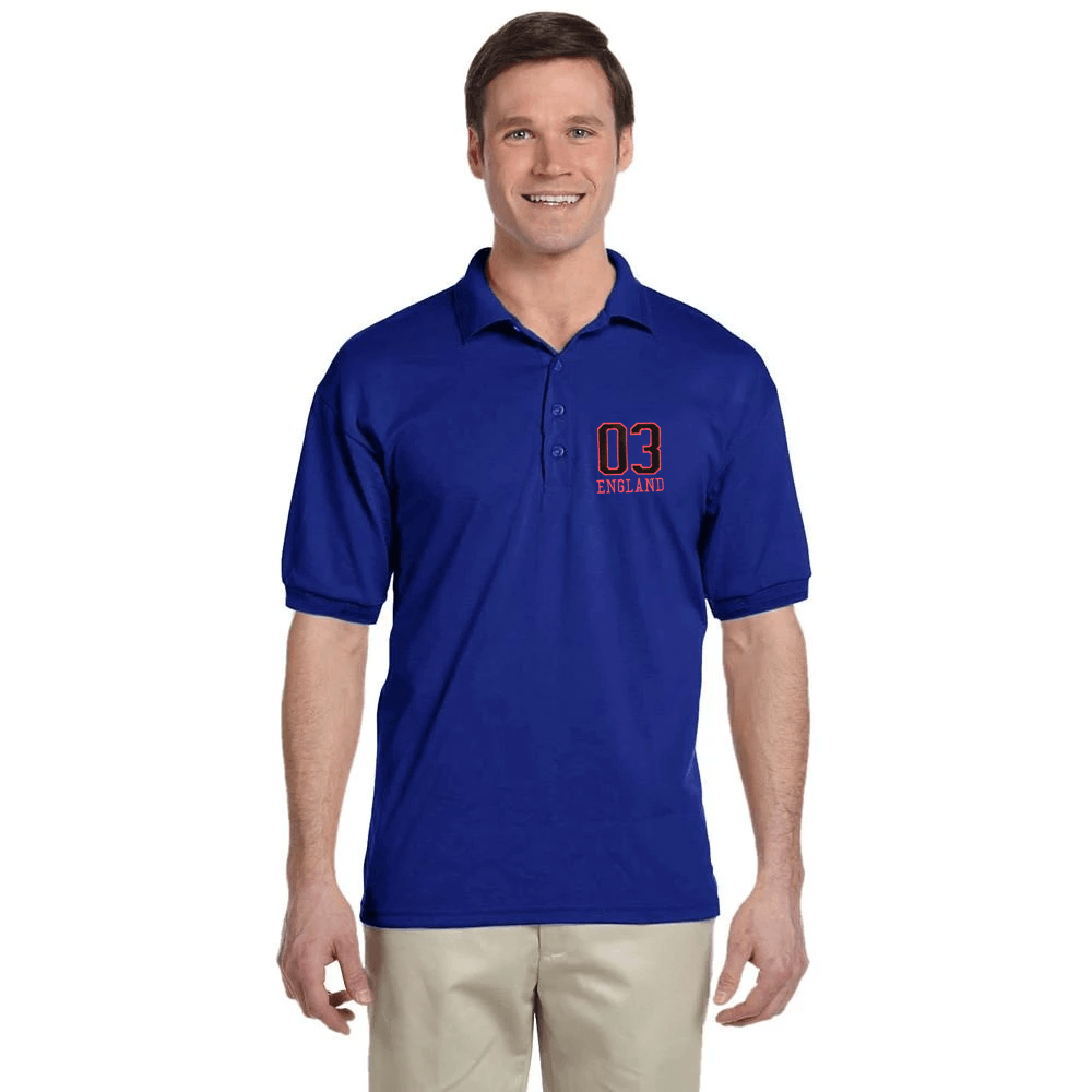 EGL England Embro Short Sleeves Polo Shirt Men's Polo Shirt Image Royal XS