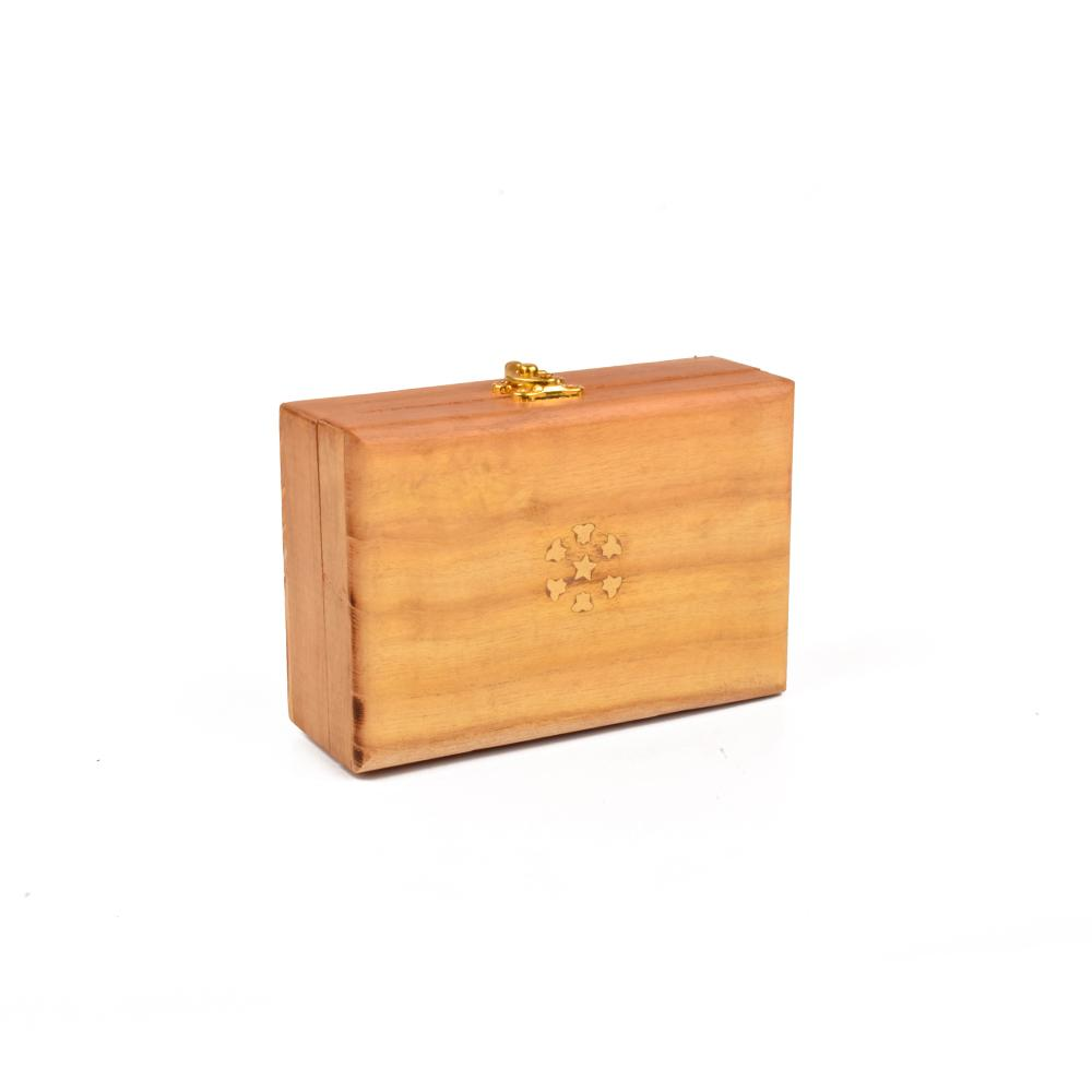 Real Wood Gold Tipped One Piece Jewellery Box