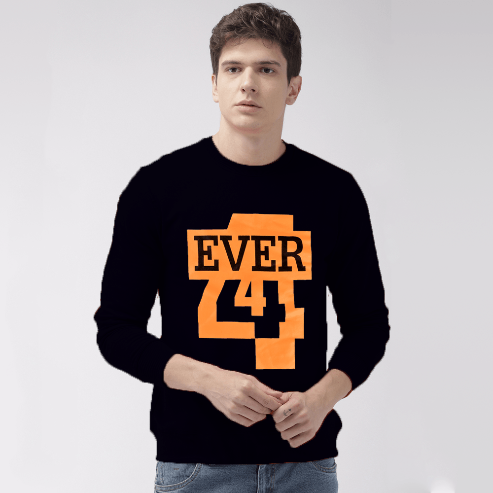 EGL Men's Forever Printed Fleece Sweat Shirt Men's Sweat Shirt Image Black XS