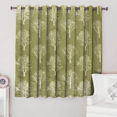Fusion Autumn Tree Design One Piece Eyelet Curtain Curtain MB Traders Light Olive W-46 x L-54 Inches