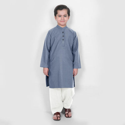 Velvour Boy's Statement Stitched Kurta Shalwar Boy's kurta set YTC Powder Blue 1-2 Years