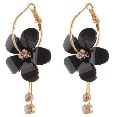 Long Paragraph Tassels Camellia Flower Crystal Earrings Jewellery Sunshine China Black