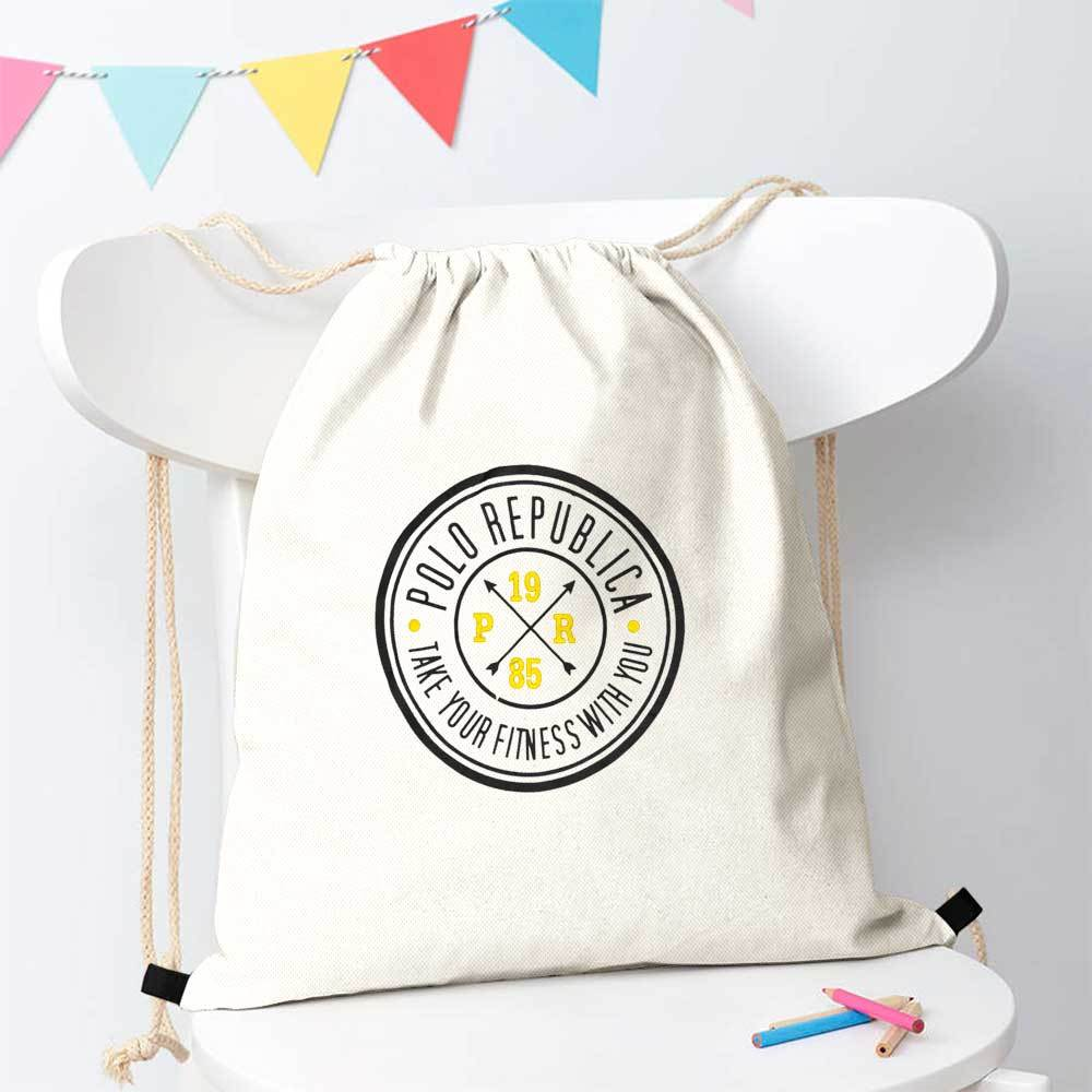 Polo Republica Take Your Fitness 1985 Drawstring Bag Drawstring Bag Polo Republica White Black