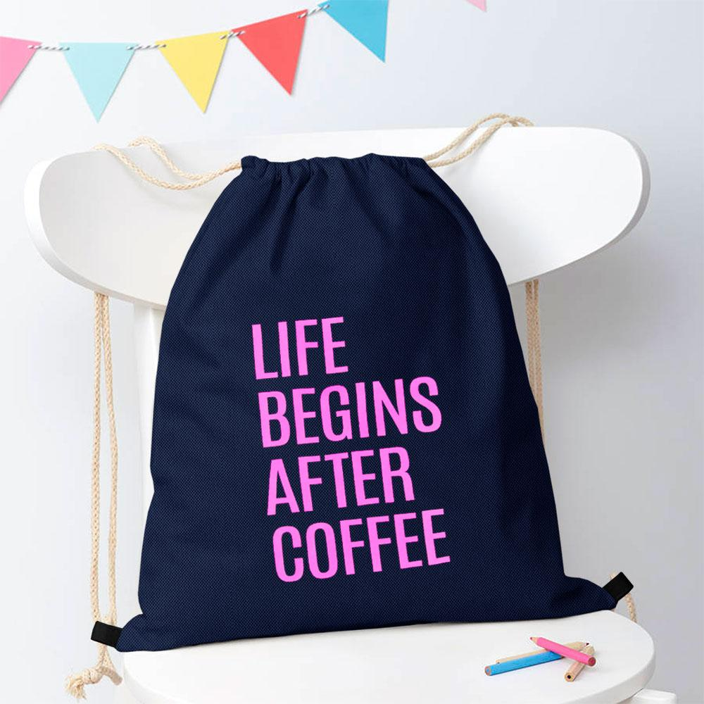Polo Republica Life Begins After Coffee Drawstring Bag Drawstring Bag Polo Republica Navy Magenta