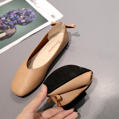 Ditcompany Genuine Leather Flat Court Shoes