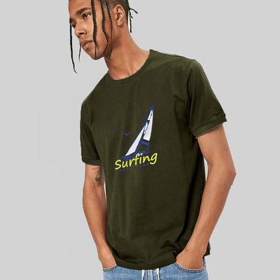 LE Surfing Boat Riding Crew Neck Tee Shirt Men's Tee Shirt Image Bottle Green XS