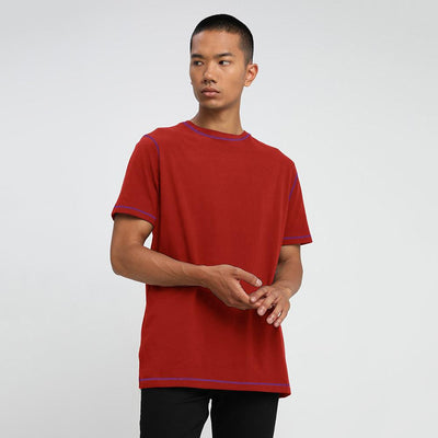 UBO Plain Contrast Stitching Tee Shirt Men's Tee Shirt AGZ Brick Red S