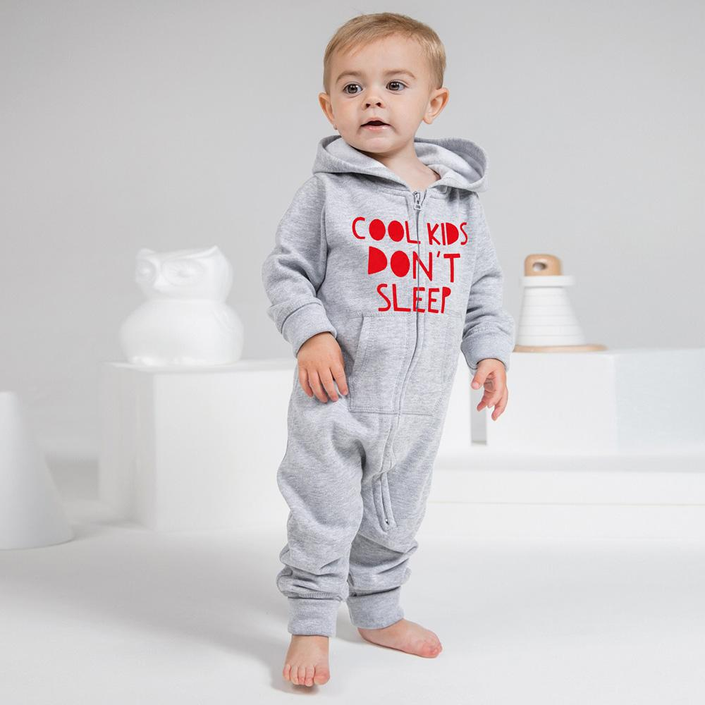 Cool Kids Don't Sleep Full Body Baby Romper Babywear Image Heather Grey Red 6-12 Months