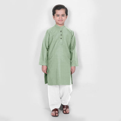 Velvour Boy's Moon Light Stitched Kurta Shalwar Boy's kurta set YTC Mint Green 1-2 Years