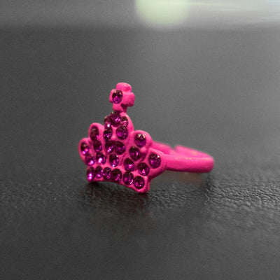 Crystal Crown Design Ring Jewellery Sunshine China Magenta
